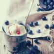 Ice cream with blueberries — Stock Photo #44335993