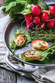 Fried bread croutons with vegetables — Stock Photo
