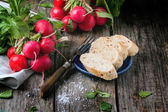 Fresh radishes with bread — Stock Photo