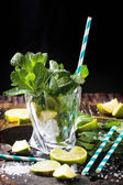 Ingredients for mojito in glass — Stock Photo