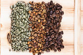 Green and brown coffee beans — Stock Photo