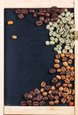 Green, brown and black coffee on chalckboard — Stock Photo