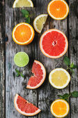 Set of sliced citrus fruits — Stock Photo