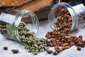 Green, brown and black coffee — Stock Photo