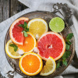 Set of sliced citrus fruits — Stock Photo #47887017