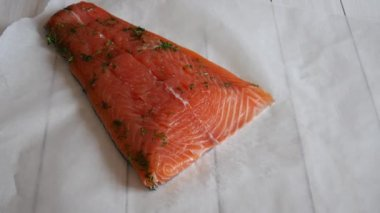 Salted salmon — Stok video