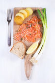 Snack with salted salmon — Stok fotoğraf