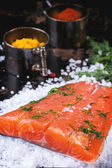 Salted salmon with spices — Stock Photo
