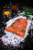 Salted salmon with spices — Stok fotoğraf