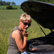 Young woman at broken car — Stock Photo #20312103
