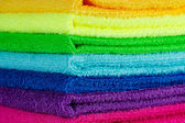 Stack of colorful towels — Stock Photo
