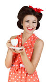 Portrait of pin-up style woman with a cup of coffee — Stock Photo