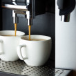 Two white cups of espresso — Stock Photo