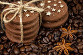 Stack of cookies and anise stars — Stock Photo