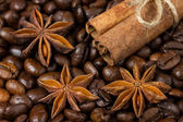 Close-up of anise stars, cinnamon and coffee — Stock Photo