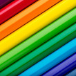 Diagonal row of colorful pencils — Stock Photo