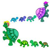 Turtles with child — Stock Vector