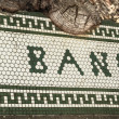 Stock Photo: Old Bank Tiled Wall Sign