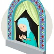 Arabic girl praying inthe window — Stock Vector