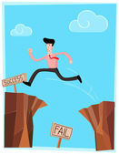 Crossing the cliff — Stock Vector