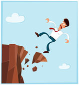 Businessman falling from the side of cliff — Stock Vector