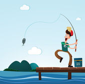 Fishing in the sea — Stock Vector