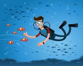 Att få en pose med clown fisk — Stockvektor