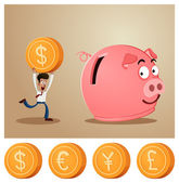 Saving money into piggybank — Stock Vector