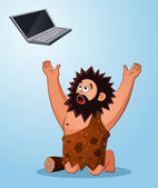 Caveman worshiping a laptop — Stock Vector