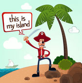 Pirate discover an island — Stock Vector