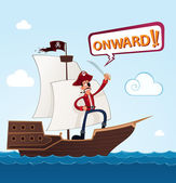Pirate on a sailing ship — Stock Vector