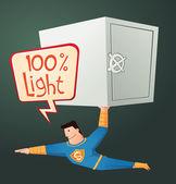 Superhero carry a deposit box — Stock Vector