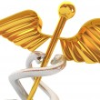 Abstract medical background with golden caduceus medical symbol — Stock Photo