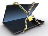 Laptop with chains and lock on white isolated background. 3d — Stock Photo