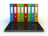 Abstract image of computer and folders for documents — Stock Photo