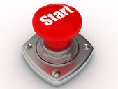 Red START button Isolated High resolution. 3D image — Stock Photo