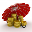 Stacks of golden coins covered by red umbrella isolated on white background — Stock Photo