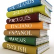 Stack of dictionaries, learning language — Stock Photo