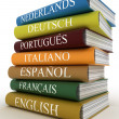 Stock Photo: Stack of dictionaries, learning language