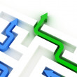 Maze puzzle solved by green arrow — Stock Photo #20799895