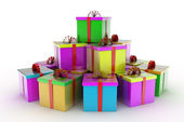 Colored gift boxes over white background 3d illustration — Stock Photo