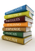 Stack of dictionaries, learning language — Foto Stock