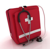 First aid kit, medical kit, isolated on white background — Stock Photo