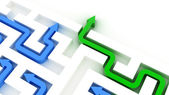 Maze puzzle solved by green arrow — Stock Photo