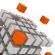 Cube assembling from blocks - Stock Photo