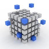 Cube assembling from blocks — Stock Photo
