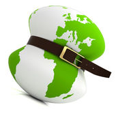 Planet earth belt tightening - global financial crisis — Stock Photo
