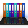 Abstract image of computer and folders for documents — Stock Photo #21215895