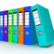 Row of color office folders - 图库照片