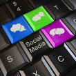 Social media on laptop keyboard. Conceptual image. 3d — Stock Photo